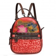 Retro 3D Flower Bird Oracle Print Lotus Leaf Original Rivet Vintage Student Backpack