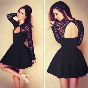 Hollow See Through Black Lace Stitching Pleated Dresses