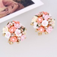 Sweet Ceramic Roses Ball Earrings Clips/Studs