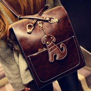 Retro Lovely Dog Leather Shoulder Bags Backpacks