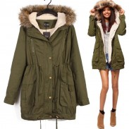 Casual Hooded Drawstring Long Fur Coats