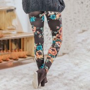New Black Flower Rose Print Yoga Pants Girls Leggings