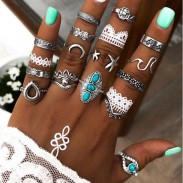 Creative Retro Moon Flower Star Eyes Alloy Carved Turquoise 16 Piece Set Combination Women's Rings