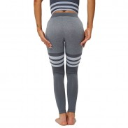 Sexy High Waist Yoga Pants Knitted Striped Fitness Slim Women Leggings