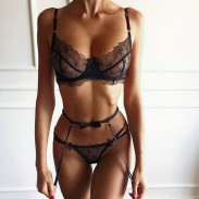 Sexy Floral Mesh Lace Bra Panty Garter Belt 3 Pieces See Through Babydoll Women's Lingerie