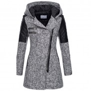 Fashion Autumn Winter Splicing Coat Oblique Zipper Hooded Woolen Trench Long Women's Coat
