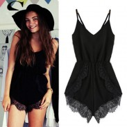 Fashion Braces Soild Lace One Piece Romper&Jumpsuit