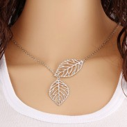 Fresh Hollow Two Leaves Silvering Pendant Clavicle Necklace