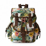 Leisure Floral Flower Drawstring Hasp Canvas Backpack