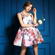Summer Colorful Flower Print Vest Skirt Dress