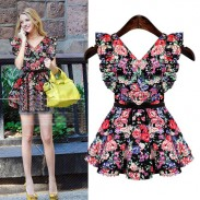 Sweet Bow Lace Sleeve V-neck Floral Flower Printed Cotton Dress