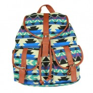 Retro Drawstring Double Hasp Geometry Pattern Rucksack Backpack