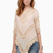 Long Sleeve Bikini Smock Crochet Hollow Lace Knitted Top