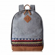 Retro Folk Geometry Woolen Pig Nose Travel Backpack