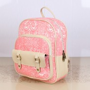 Fresh Pink Lace Floral Rucksack Double Hasp Bag Travel Backpack Schoolbag