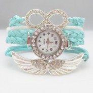 Original Angel Wings Rhinestone Braided Bracelet Watch