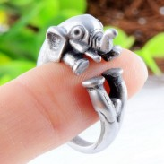 Retro Silver Alloy Lovely Baby Elephant Opening Ring