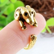 Bend Angle Goat Animals Open Adjustable Wrap Ring Retro Golden Ring