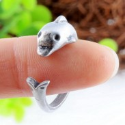 Lovely Lovely Dolphin Antique Retro Silver Animals Opening Ring