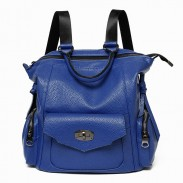 Simple Solid Color Square Multifunction College Backpack Hand Bag