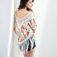 Fashion Batwing Sleeves Tassel Hook Flower Hollow-out Printing Tops