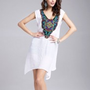 Sexy Embroidery Splicing loose Dress With Belt