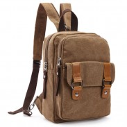 Retro Splicing Belts Canvas Multifunction Shoulder Bag Small Dual-purpose School Backpack
