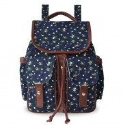 Retro  Dark Blue Floral Flower Drawstring Hasp Satchel School Bag  Backpack