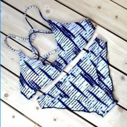 Unique Bikini Set Electrocardiogram Printing Split Swimsuit