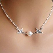 Couple Birds Pearl Necklace