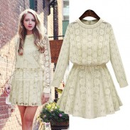 Retro Fat Lady Solid Lace Flower Geometry Round Neck Long Sleeve Dress