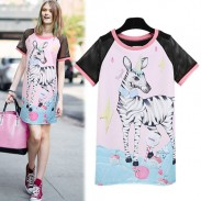 Fashion Lovely Lovely Zebra Pattern Net-sleeve Mixed Color Long T-Shirt