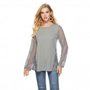 Fashion Hollow Lace Splice Round Neck Long Sleeve Women's Sweater