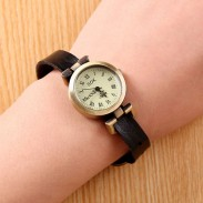 Retro Unicyclic Multicolor Choose Roman Numeral Cowhide Leather Girl Watch