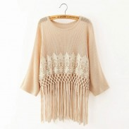 Sweet Fresh Lace Tassel Loose O-neck Batwing Sleeve Solid Sweater