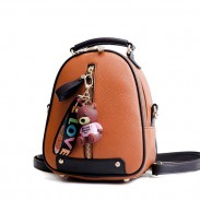 Leisure Simple Vertical Zipper Bear Decor Multi-function Shoulder Bag School Backpack