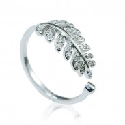 Fashion Leaves Diamond Adjustable Opening Silver Ring