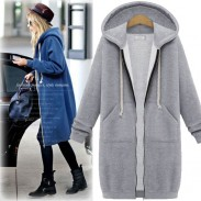 Fashion Long-sleeved Sweater Coat Long Hooded Coat Thicker Coat Pullover