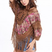 Indian Style Outer Blouse Tassel Hand Knitting Large Size Tops