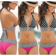 Retro Triangle Polka Dot Bikinis Set Push Up Swimwear Beach Bathing Suit