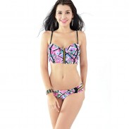 Floral Golden Zipper Hollow Bikini Set Swimsuit Swimwear Bathing Suit