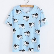 Lovely Shar Pei Animals Printed Cartoon Blue Women T-Shirt