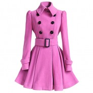 Middle Style Double-breasted Standing Collar Pleated Skirt Silm Fashion Women's Fall Winter Woolen Overcoat