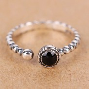 Retro Silver Twist Black Agate Adjustable Open Ring