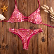 Cashew Nuts Print Bikini Retro Double-sided Triangle Swimsuits Bikini Set