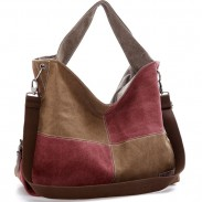 Retro Contrast Color Blocking Large Capacity Canvas Shoulder Bag Girl's Splicing Square Handbag