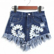 New Letters Printed Ragged Edges Rivet High Waist Denim Shorts Jeans Wonmen Shorts
