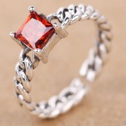 Red Square Zircon Vintage Thai Silver Twist Weave Open Rings