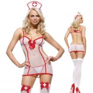 Sexy Costume Nurse Cosplay See Through Uniform Temptation Lady Lingerie