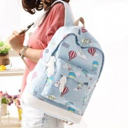 Cute Hot Air Balloon Printing Girl's Canvas Cartoon Junior High School Student Backpack